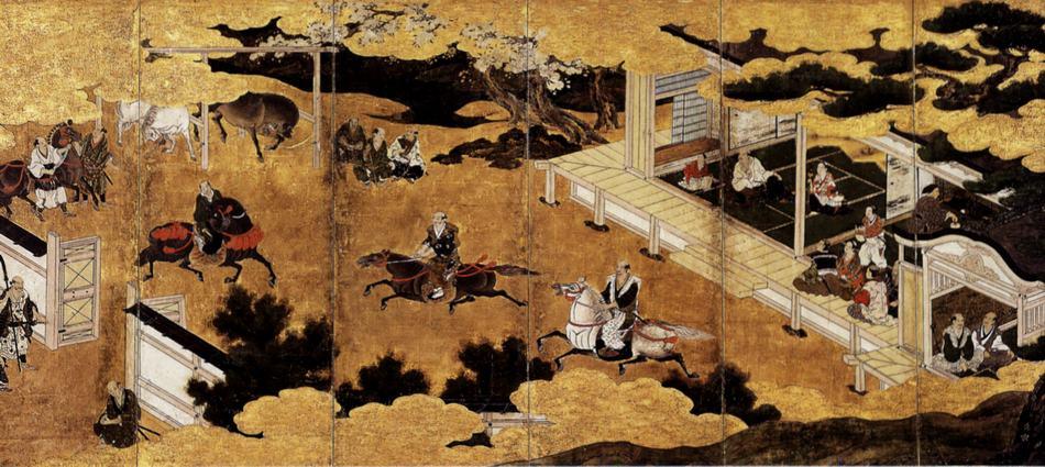 Chobakyubazu Byobu, naslikana v 16 st. V ozadju na desni čajni mojster s klobukom na glavi pripravlja čaj za bojevnike.