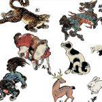 Ukiyoe; serija 26 živali, ki jih je ustvaril Utagawa Yoshitori